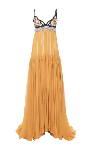 Medium giambattista valli yellow silk georgette and macrame lace v neck gown