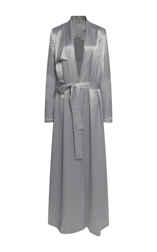 Medium galvan silver silk full length belted coat