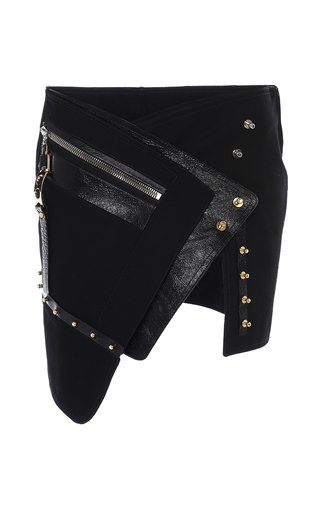 Medium anthony vaccarello black black asymmetric button down mini skirt