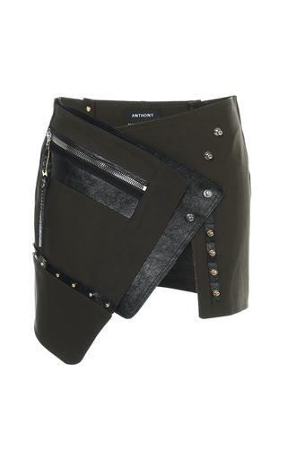 Medium anthony vaccarello khaki khaki asymmetric button down mini skirt