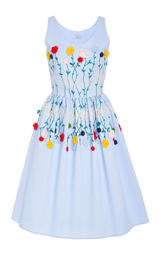 Medium vivetta light blue navy cotton embroidered tea dress