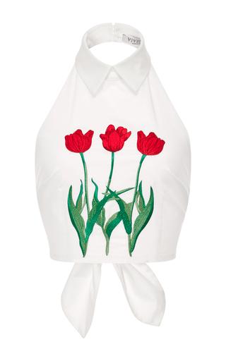 Medium vivetta white iolanda cotton floral embroidered halter top
