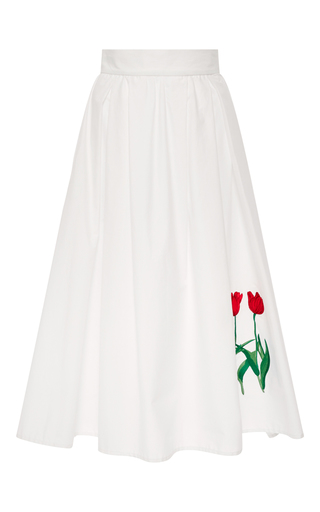 Medium vivetta white ivone cotton a line skirt with tulips