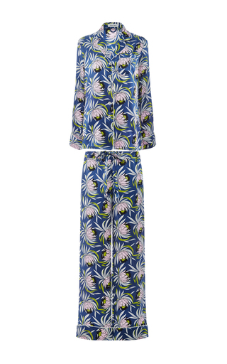 Medium olivia von halle print lila bardot silk printed shirt and pants set