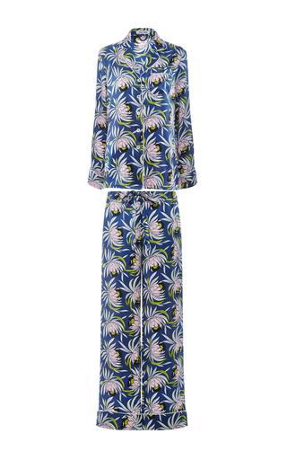 Medium olivia von halle print lila bardot silk printed shirt and pants set