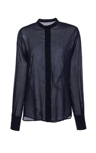 Medium martin grant navy navy collarless button up shirt