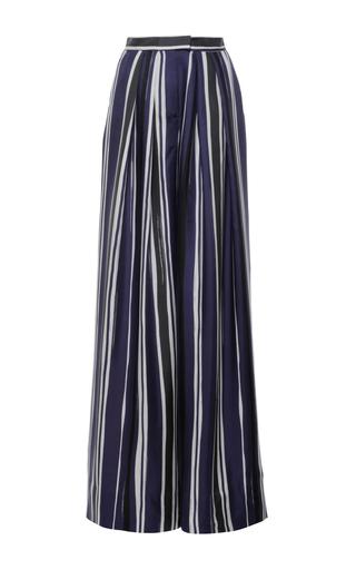 Medium martin grant navy striped pleated wide leg trouser