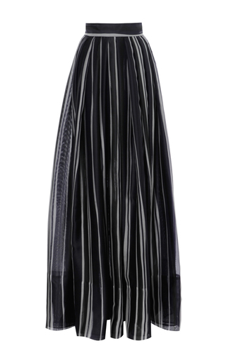 Striped Long Pleated Skirt by MARTIN GRANT Now Available on Moda Operandi