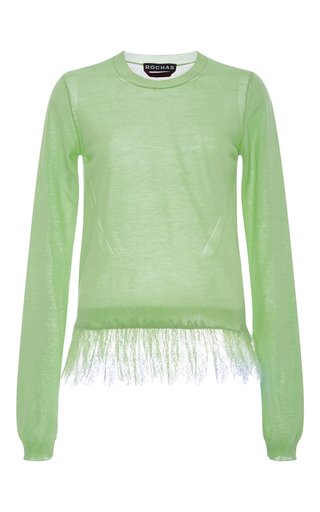 Green Sweater With Lace Hem by ROCHAS Now Available on Moda Operandi
