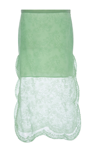 Mint Green Silk Skirt With Lace Overlay by ROCHAS Now Available on Moda Operandi