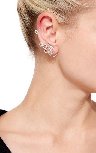 Cubic Mood Gold, Crystal, And Sapphire Ear Cuff by RUNA Now Available on Moda Operandi