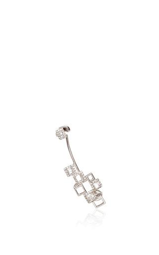 Medium runa silver cubic mood gold crystal and sapphire ear cuff