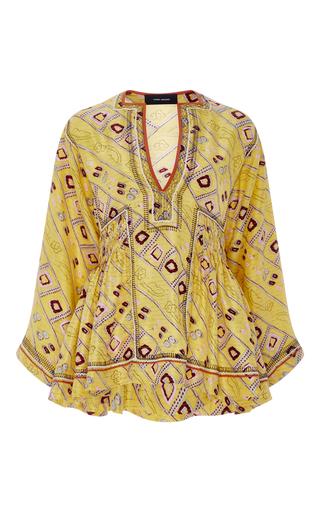 Medium isabel marant yellow silk printed yellow peplum top