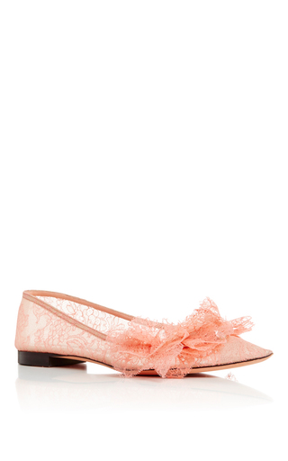 Medium rochas pink pink lace pointed toe flats with mask embellishment