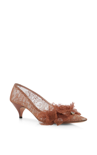 Medium rochas brown rust pointed feather kitten heel