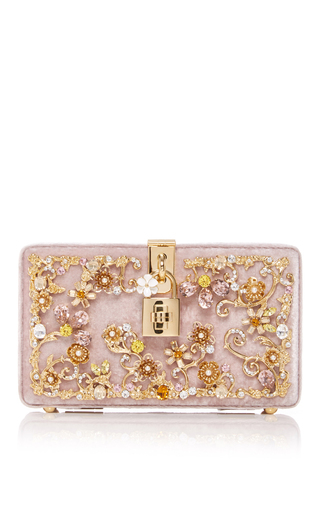 Medium dolce gabbana pink velvet embellished box locket clutch