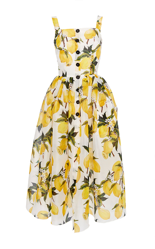 Medium dolce gabbana print silk lemon print and needlepoint dress