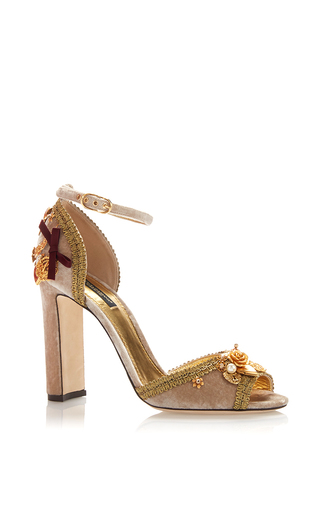 Embellished Velvet Heeled Sandals by DOLCE & GABBANA Now Available on Moda Operandi