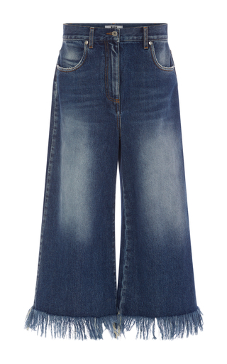 Fringed Hem Denim Culottes by MSGM Now Available on Moda Operandi