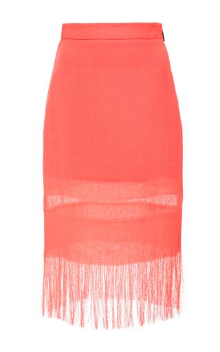 Medium msgm pink coral fringed linen skirt