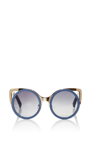 Medium linda farrow light grey two toned sunglasses with gradient