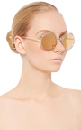 Round Sunglasses With Reflective Gold Lenses  by LINDA FARROW Now Available on Moda Operandi