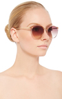 Classic Pink Sunglasses With Gradient Lenses by LINDA FARROW Now Available on Moda Operandi