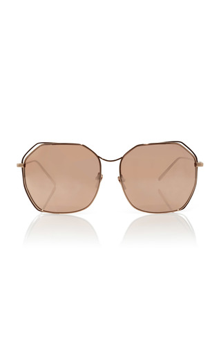 Medium linda farrow pink rose gold plated angular aviators