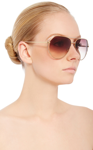 Round Aviators With White Gold Accents by LINDA FARROW Now Available on Moda Operandi