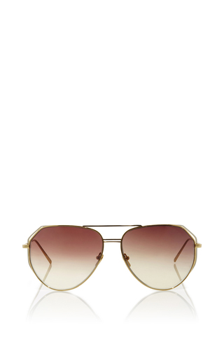 Medium linda farrow gold round aviators with white gold accents