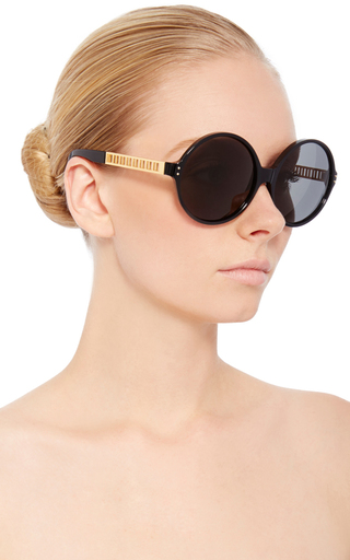 Round Sunglasses With Titanium Cage Detailing  by LINDA FARROW Now Available on Moda Operandi