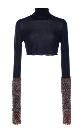 Medium esteban cortazar navy lurex cuff cashmere sweater