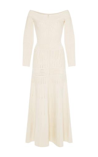 Medium barbara casasola white white off the shoulder knit dress