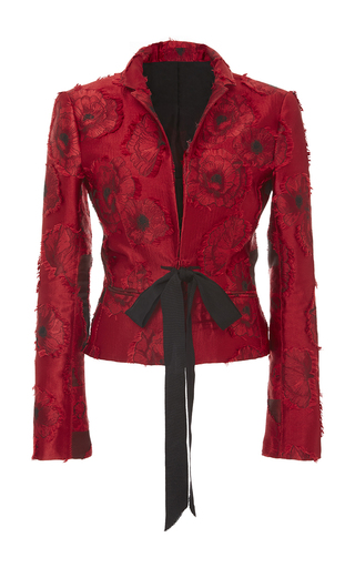 Medium oscar de la renta red notch collar tie front jacket