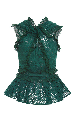 Medium oscar de la renta green cross front peplum blouse