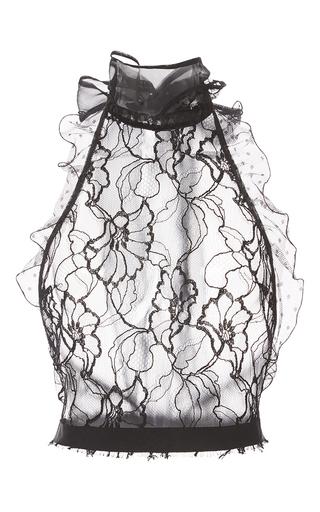 Medium oscar de la renta black poppy lace halter blouse