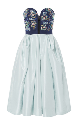 Medium oscar de la renta navy bugle bead and sequin embroidered dress