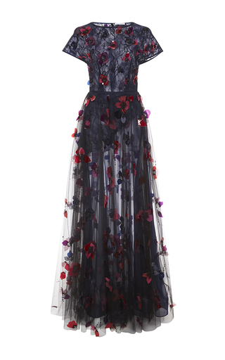 Medium oscar de la renta black bead and floral embroidered gown