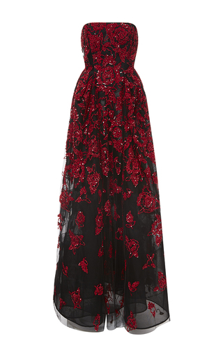 Medium oscar de la renta red sequin floral embroidered gown