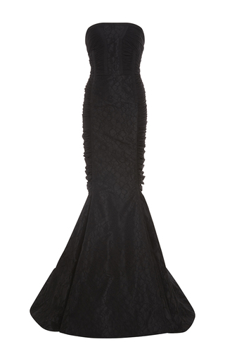 Medium oscar de la renta black ruched gathered back trumpet gown with gloves