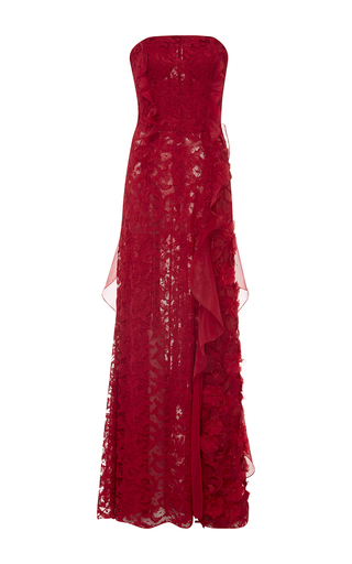 Medium oscar de la renta red organza and lace embroidered ruffle detail gown