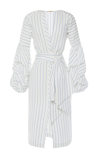 Medium johanna ortiz white linen striped juliet wrap front tunic