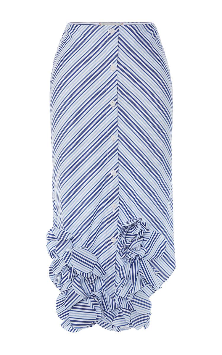 Cotton Striped Emma Skirt With Ruffled Hem By Johanna Moda Operandi