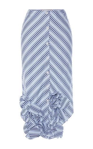 Medium johanna ortiz blue cotton striped emma skirt with ruffled hem