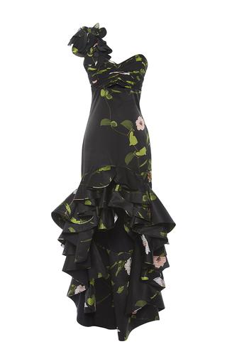 Medium johanna ortiz black silk one shouldered secret garden dress
