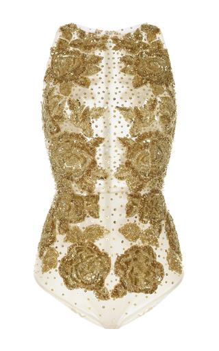 Medium zuhair murad white floral embroidered tulle bodysuit