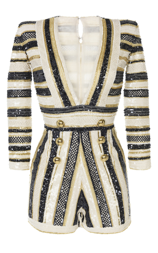 Medium zuhair murad white sequin embroidered striped romper