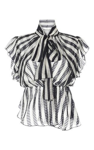 Medium zuhair murad blue striped chiffon ruffled blouse