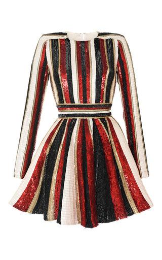 Medium zuhair murad black long sleeve sequin embroidered flare dress