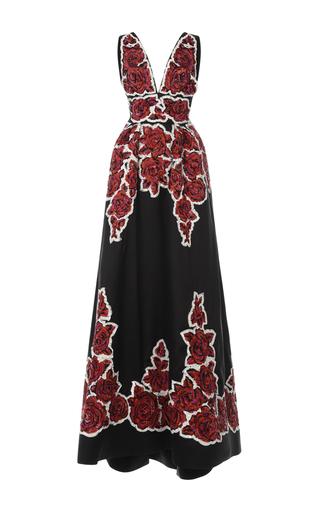 Medium zuhair murad black rose embroidered mikado gown